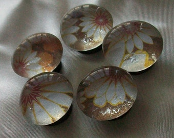 Orange and White  Flower Glass Marble Magnets