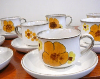 SALE-1970's Denby English Cups and Saucers Set of 8