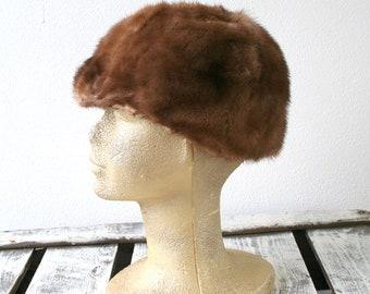 """Latte fur hat, vintage fur hat, size 22.5"""" (57cm), womens winter fashion, contemporary style"""