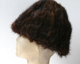 "Vintage winter hat, mink fur hat in brown, size 23"" (58cm), womens winter fashion, contemporary style"