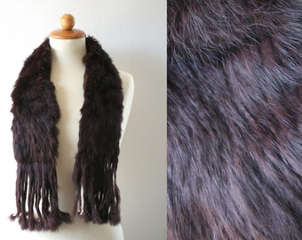 Vintage fur collar in deep red wine burgundy color, fringe collar, women's winter fashion, fur stole