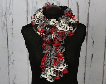 multi-colored ruffle scarf