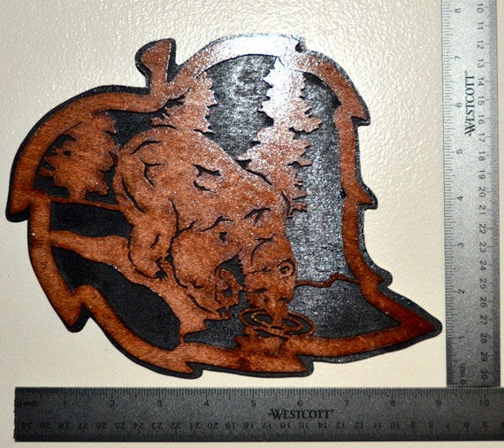 Grizzly Bear Forest Leaf Scroll Saw Wall Plaque