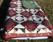 ON SALE! Faux Log Cabin Twin Size Quilt