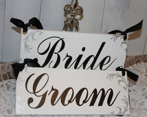 Wedding Signs/Bride/Groom Chairs Signs/Photo Prop/U Choose Colors/Silver/Black/White