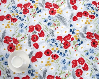 """Linen Wedding tablecloth poppy meadow Eco Friendly 56""""x56"""" or made to order your size, also napkins and table runner available, eco GIFT"""