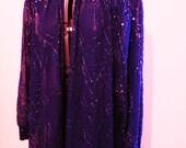 Vintage Beaded Jacket in Purple 80's Beaded Jacket
