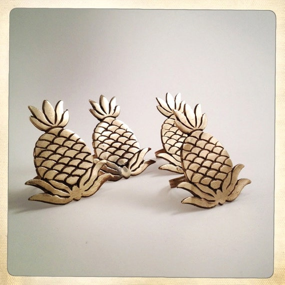 vintage napkin rings brass pineapple set of 4