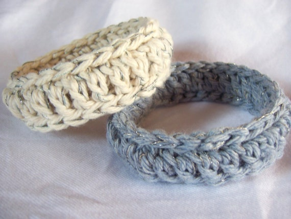 Crochet Soft Metallic Thread Bangle Bracelets Cotton Fiber Comfortable Wrist Accessory Denim Blue and Natural Set of Two