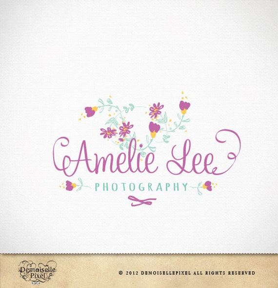 Items similar to logo design hand drawn whimsical flowers