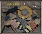 Primitive Grungy Bees Black Crow sunflower bowl filler tucks handmade
