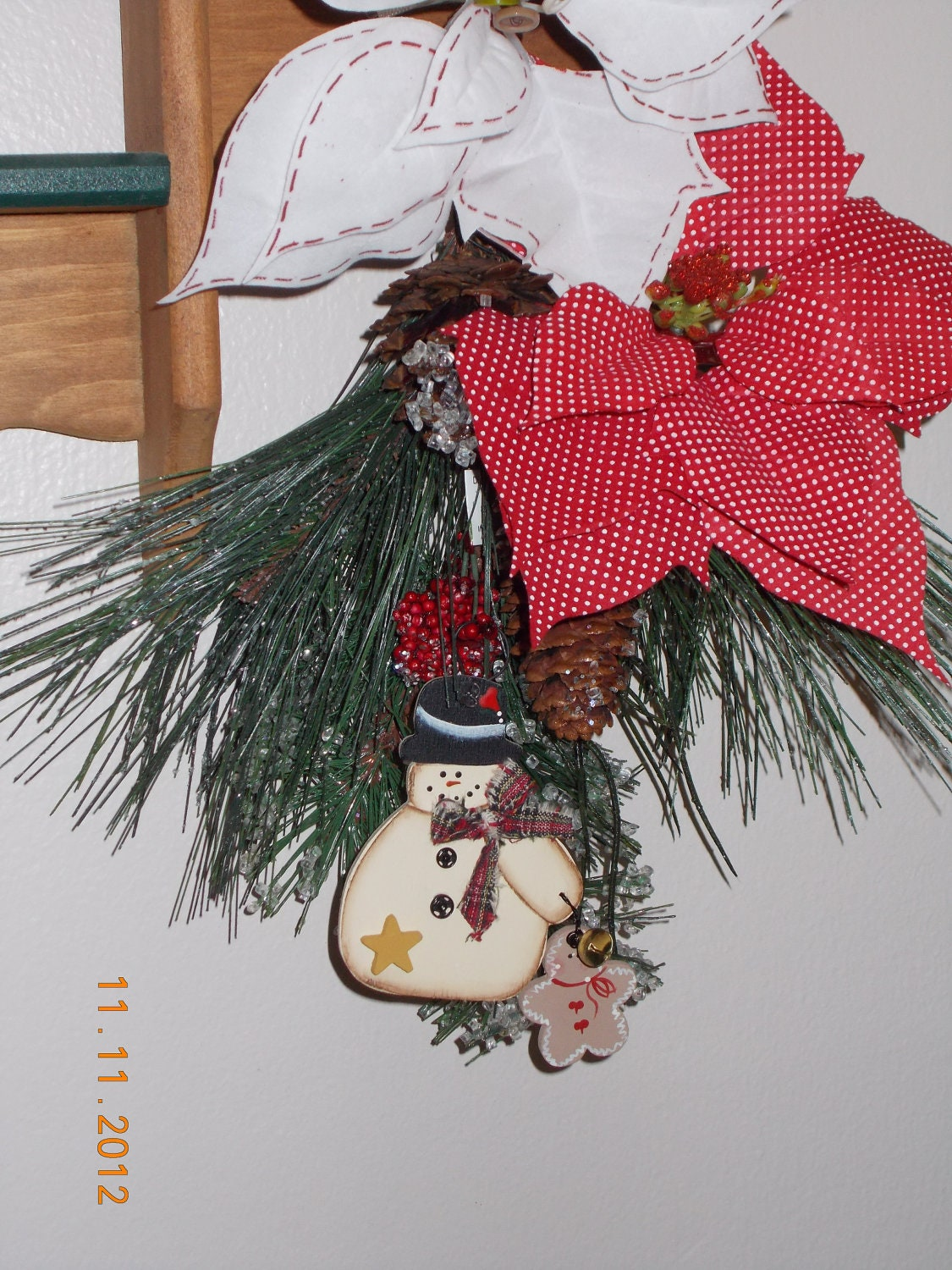 Snowman gingerbread ornament, gift tags, holiday decoration, handmade, free shipping,made in USA