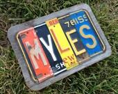5 Letter Custom License Plate Name Sign - Reclaimed Wood