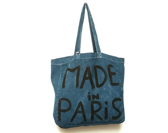 CUSTOM Made in Paris Blue Denim Large Shoulder Eco Tote BAG / Eve Damon