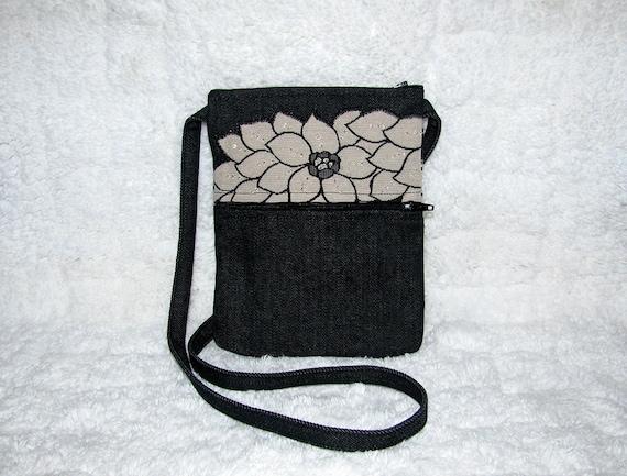 Denim Small Purse White & Black Home Decor Fabric, Beading and Long Strap - Womens Shoulder Bag