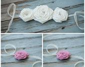 CUSTOM FOR MARIA:  2 Dusty Pink Rose Headbands & 1 Large Roses in a Row Headband