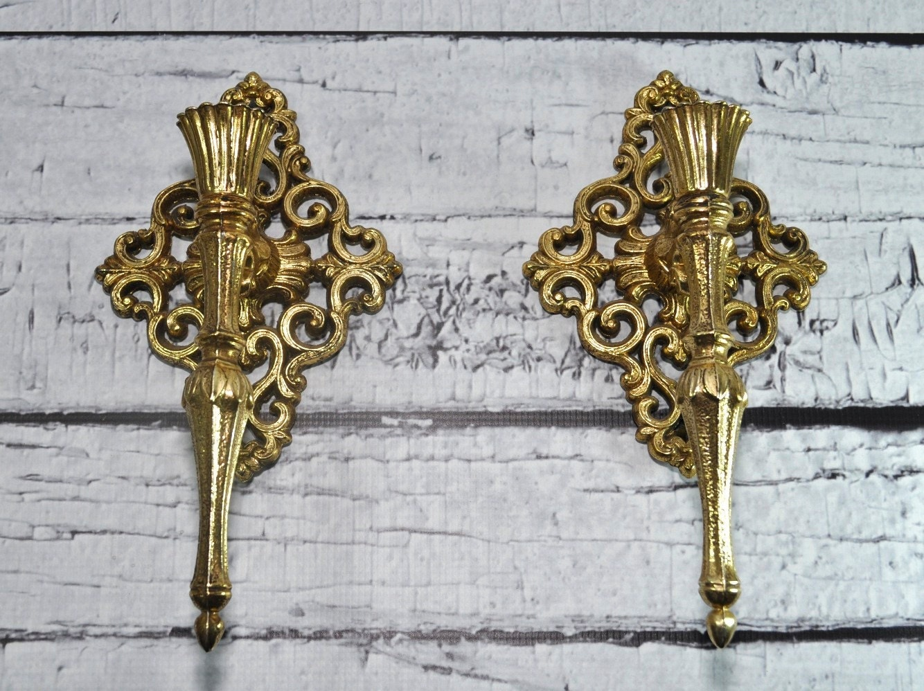 Ornate Vintage Gold Candle Holder Wall By DooleyFritzVintage