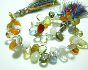"""Multi Stone Faceted Pear Briolettes- 7"""" Strand -Stones measure- 7x5-8x6mm"""