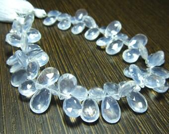 "Icy Quartz Faceted Pear Briolette- 7"" Strand -Stones measure- 10x7-12x8mm"