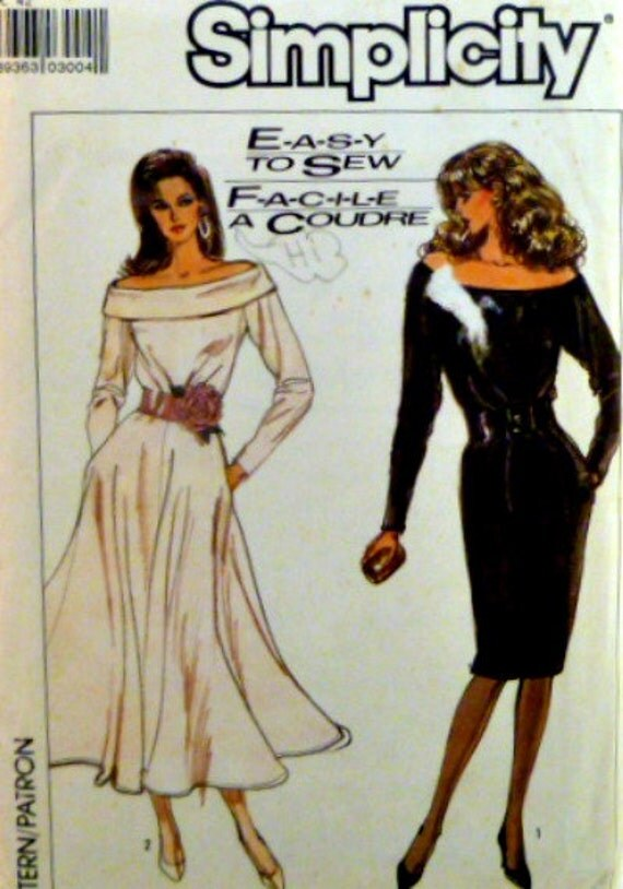 Vintage 80s Simplicity 8348 Pattern Semi Fitted Dress Straight Or Circular Skirt Off Shoulder Size 14 Uncut p4z