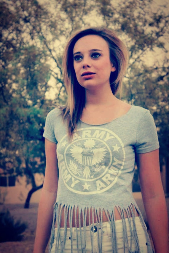 Salute the Troops Army Fringed Tee