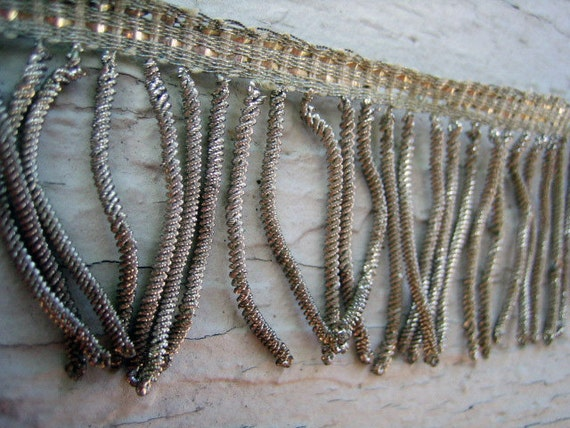 Early 1900s Metallic  Silver Fringe with Pantina - Gorgeous - 22 inches - 1 3/4 inches wide