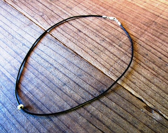 Simple Sterling Silver and Leather Cord Necklace (mens/womens)