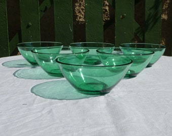 Set of 6 vintage French Duralex Huilor turquoise bowls