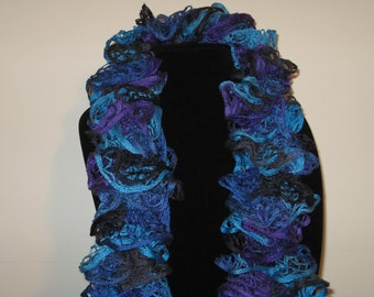 Scarf Handknit FREE SHIPPING Blue Purple Black Soft Lacy