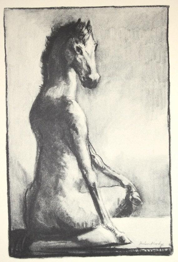 Vintage 1937 Children's Book Illustration Book Plate- Bizarre Female Horse Nude