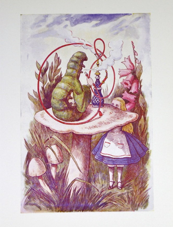 Vintage Alice In Wonderland Print Caterpillar 1970 S