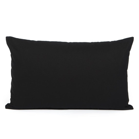 12 X 20 Solid Black Lumbar / Oblong Throw Pillow Cover by BHDecor