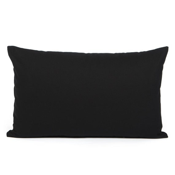 Plain Black Throw Pillow : 12 X 20 Solid Black Lumbar / Oblong Throw Pillow Cover by BHDecor