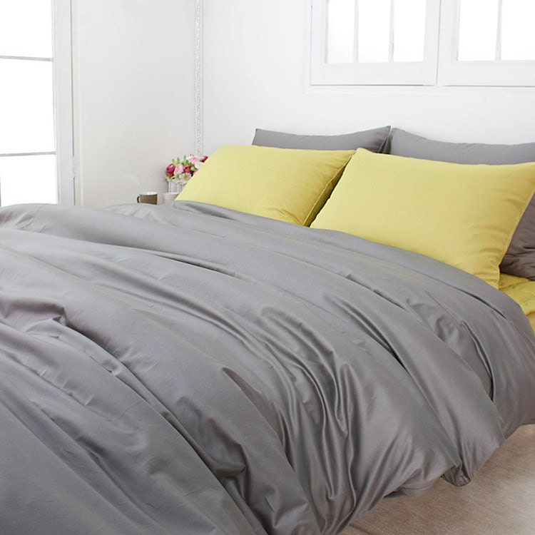 820tc High Quality Solid Gray King Duvet Cover Set By Bhdecor