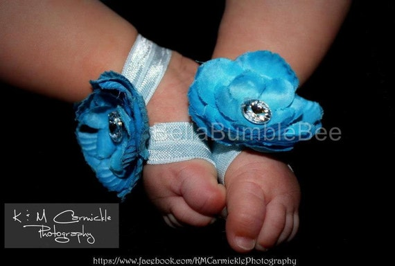 Bright Blue Baby Barefoot Flower Sandals for Newborn Infant Baby or Toddler Girls, Turquoise Booties, Bottomless Sandles, Choose Color Shoes