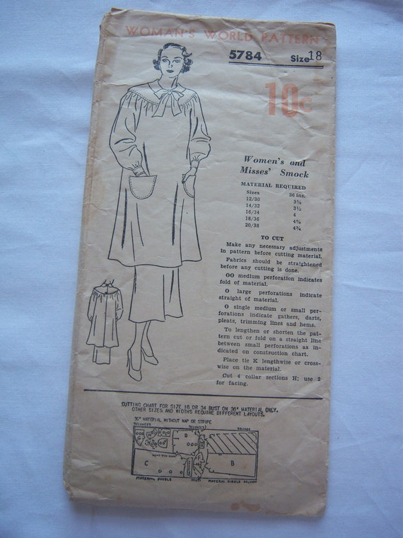 Vintage 1930s Woman's World sewing pattern 5784 - Women's and Misses' Smock, Size 18, All 9 Pieces
