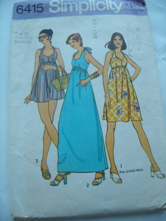 Vintage Simplicity 6415 Maternity Halter-dress in 2 lengths or Bathing Suit in Misses' Sizes