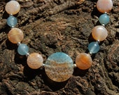 Turqouise and Orange Crackle Agate Beaded Necklace Handmade of course - 19 1/2 inches