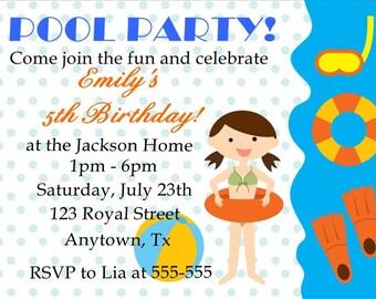 Pool Party Birthday Invitation