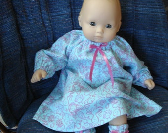 """Bitty Baby 15"""" Doll Clothes -  Flannel Long Nightgown and Slippers Booties DYD053"""