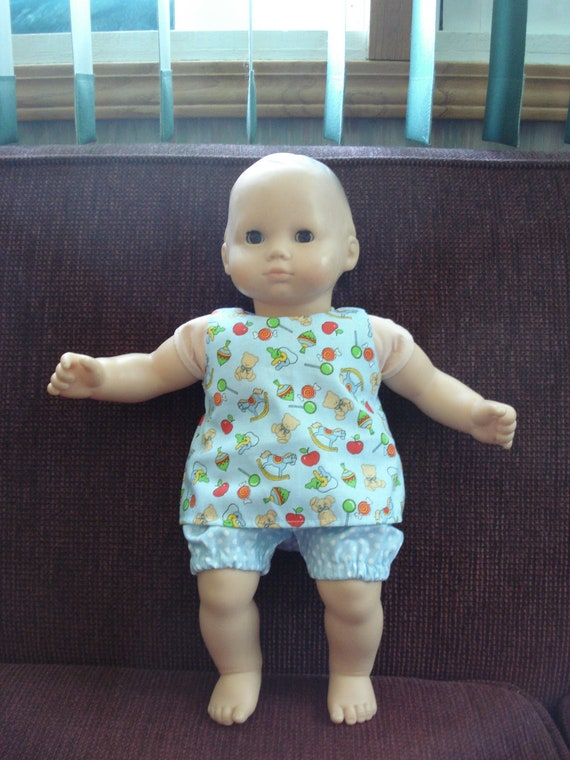 """Baby 15"""" Doll Clothes -  Sunsuit Top and Pants rocking horse apples bears blue"""