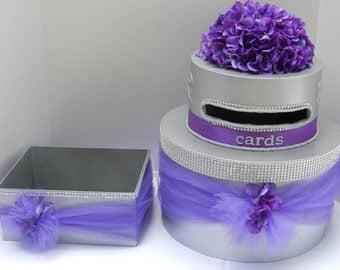 Purple Bling Wedding Cake Card Box & Program Box
