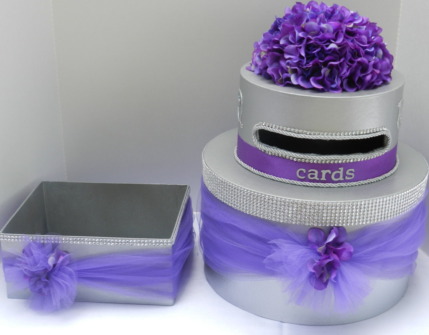 Purple Bling Wedding Cake Card Box & Program Box