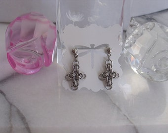Tiny Chainmaille Celtic Cross Earrings