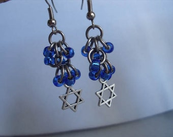 Star of David Blue Bead Chainmaille Earrings