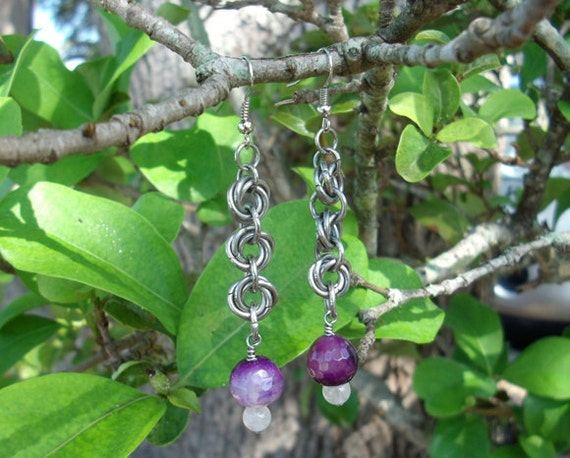Chainmaille Rosette drop earrings