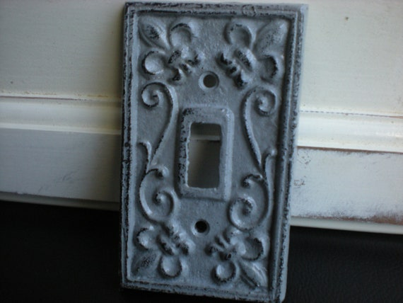 Slate grey decorative light switch plate single by fromshab2chic - Wrought iron switch plate covers ...