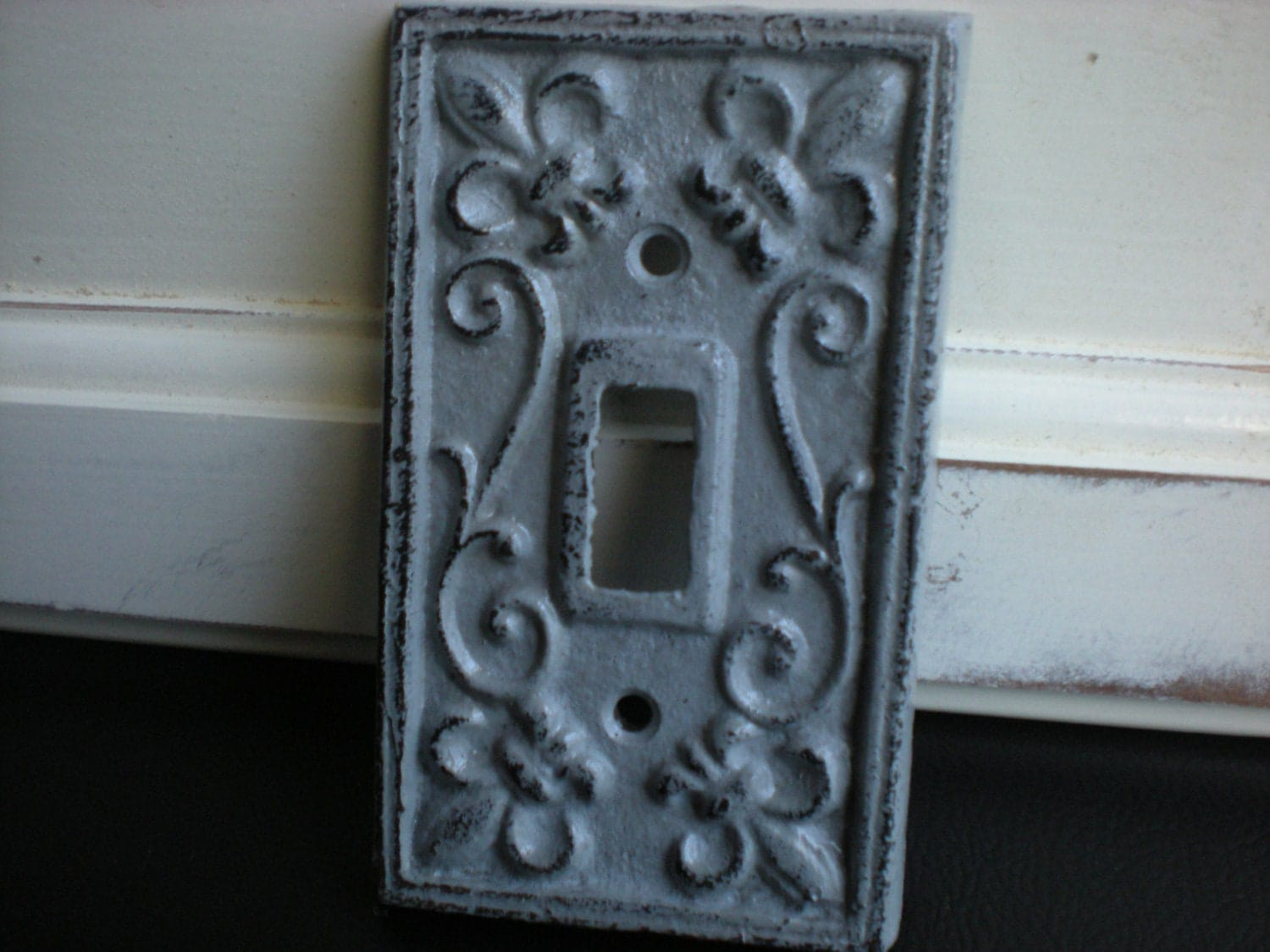 Slate grey decorative light switch plate single by fromshab2chic - Wall switch plates decorative ...