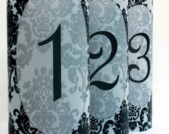 Damask Luminary Table Numbers set of 10, Wedding Table Numbers, Damask Wedding