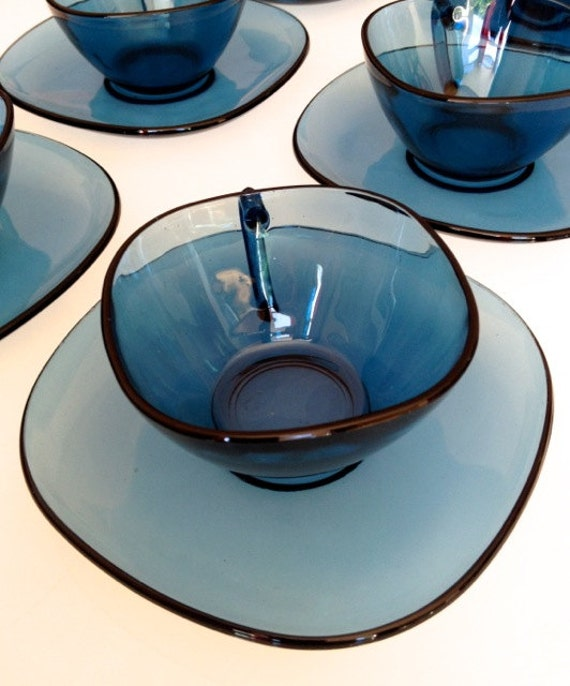 Vintage Blue Vereco Coffee Set of 6 Cups and Saucers, French Vereco